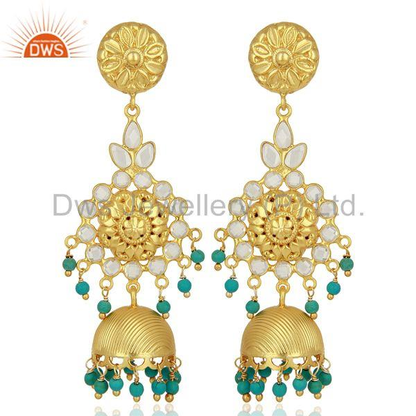 Turquoise and CZ Gemstone Gold Plated Silver Traditional Earrings