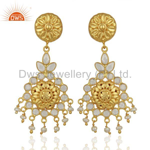 Traditional Gold Plated CZ Gemstone Silver Earring Jewelry Manufacture