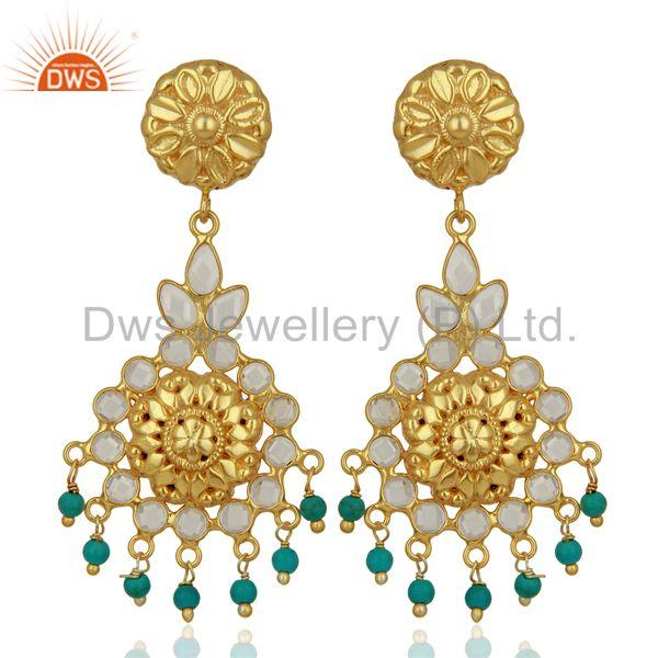 Cz Turquoise Gemstone Gold Plated Silver Earrings Jewelry Supplier