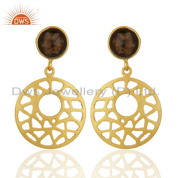 Filigree Design Gold Plated 925 Silver Smoky Quartz Gemstone Earrings