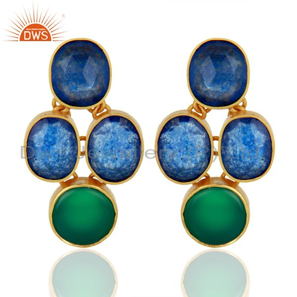 Green Onyx and Blue Aventurine Gemstone 925 Silver Earrings Supplier