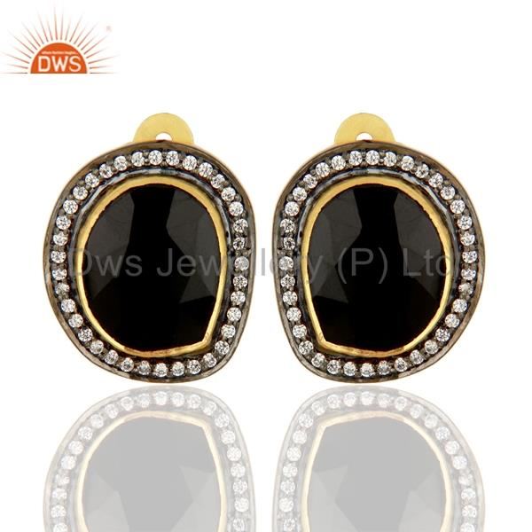 Natural Black Onyx Gemstone CZ Gold Plated Silver Stud Clip Earrings