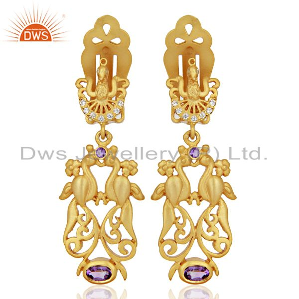 Natural Amethyst CZ Gemstone Gold Plated Silver Clip Earrings Supplier