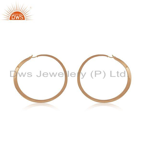 Handmade Rose Gold Plated 925 Sterilng Silver Hoop Earrings Manufacturer INdia