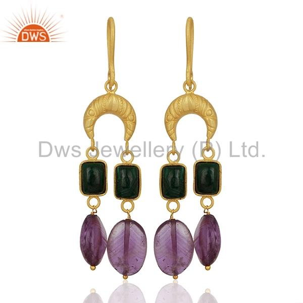 Tanzanite Gemstone Gold Plated Designer Silver Earrings Supplier