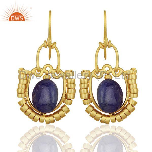 Malachite and Amethyst Gemstone Gold Plated 925 Silver Earring Jewelry