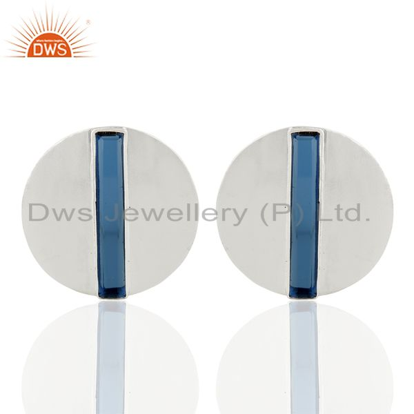 Corundum Blue Gemstone 925 Sterling Silver Stud Earrings Manufacturer