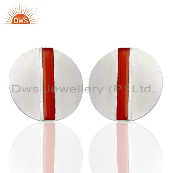 Carnelian Gemstone Sterling Fine Silver Stud Earrings Jewelry Supplier