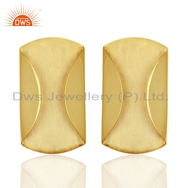 Designer Yellow Gold Plated 925 Silver Stud Earrings Jewelry Supplier