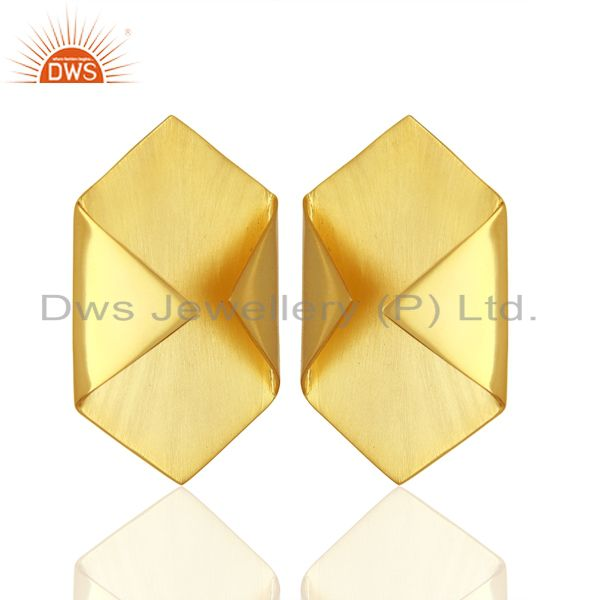 Handmade Gold Plated 925 Silver Designer Stud Earrings Jewelry