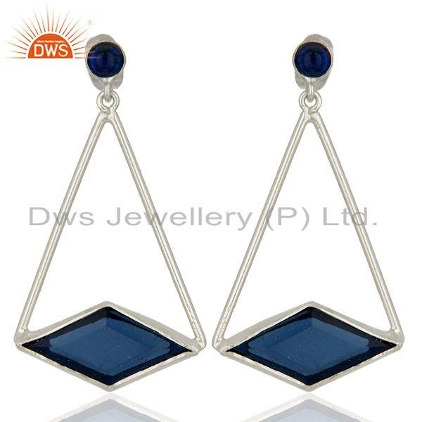 Designer 925 Sterling Silver Blue Corundum Gemstone Earrings Supplier