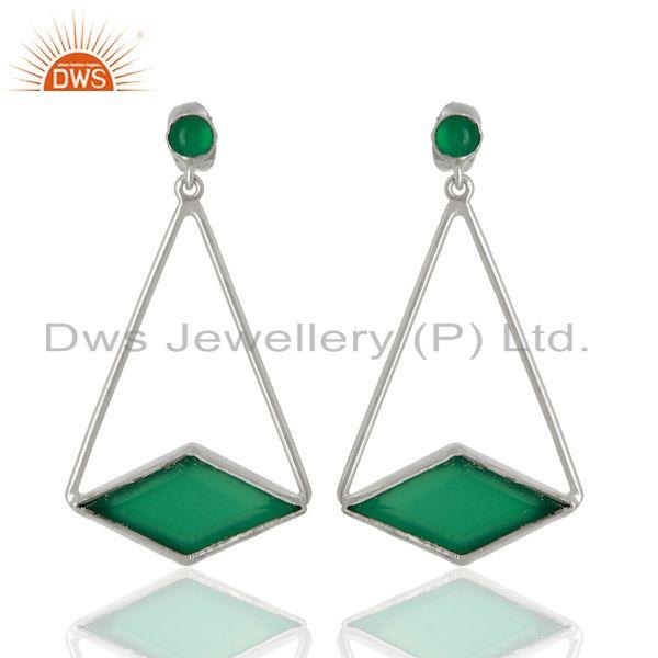 Green Onyx Gemstone 925 Sterling Silver Fashion Earrings Supplier