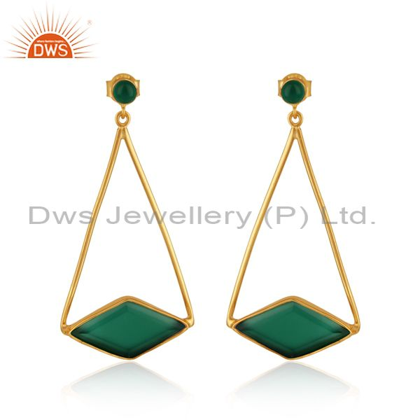 Long dangle earring in yellow gold on silver 925 with green onyx