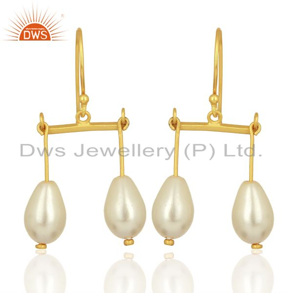Natural Pearl Gemstone Gold Plated 925 Silver Womens Earring Wholesale