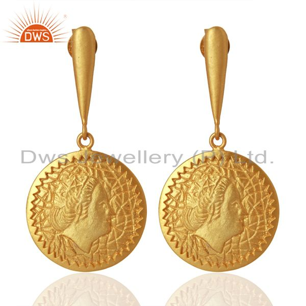Handcrafted Yellow Gold Plated Plain Silver Earrings Manufacturer