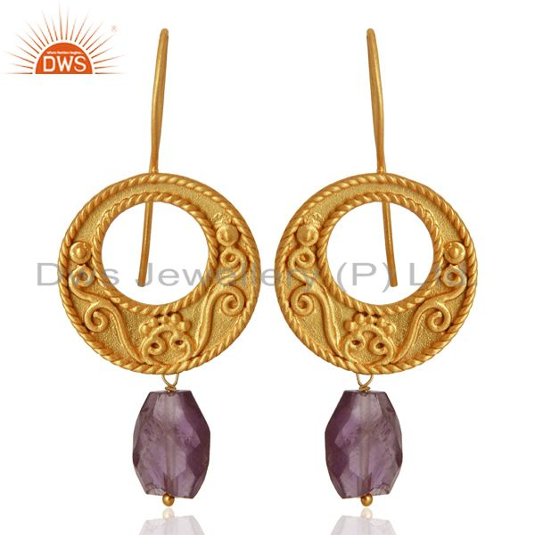 Gold Plated Silver Natural Amethyst Gemstone Earrings Manufacturer