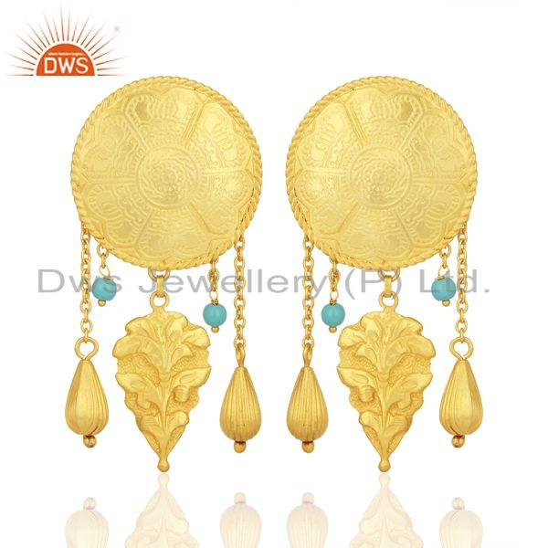 Gold Plated Silver Turquoise Gemstone Earrings Jewelry Manufacturer