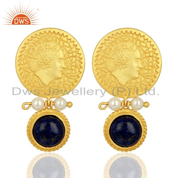 Lapis and Pearl Gemstone Silver Gold Plated Earrings Jewelry Wholesale