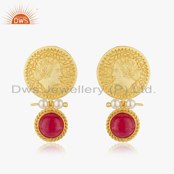 Handcraved 925 Silver Yellow Gold Plated Gemstone Drop Earrings Manufacturer