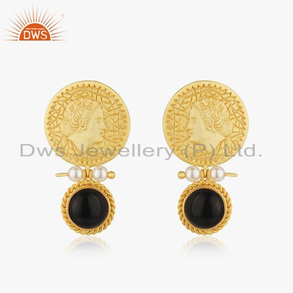 Black Onyx Gemstone 925 Silver Handcraved Queen Face Earrings Wholesale