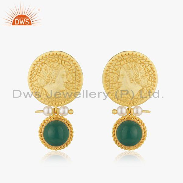 Yellow Gold Plated Sterling Silver Handcarved Queen Face Earrings Wholesale