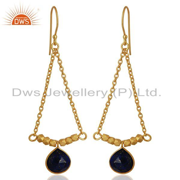 Natural Lapis Gemstone 925 Silver Gold Plated Earrings Manufacturer