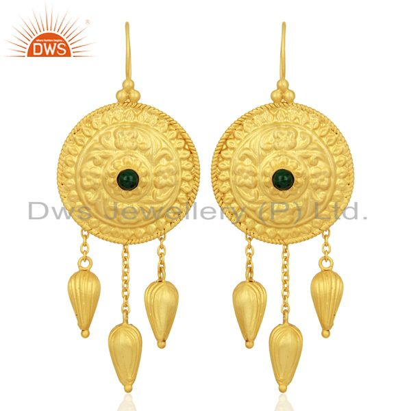 New Arrival 925 Silver Gold Plated Malachite Gemstone Earring Supplier