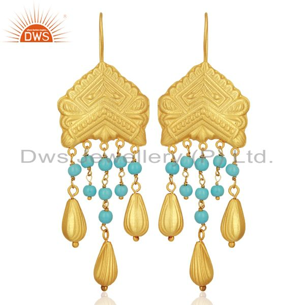 Natural Turquoise Gemstone Gold Plated Designer Silver Earring Jewelry
