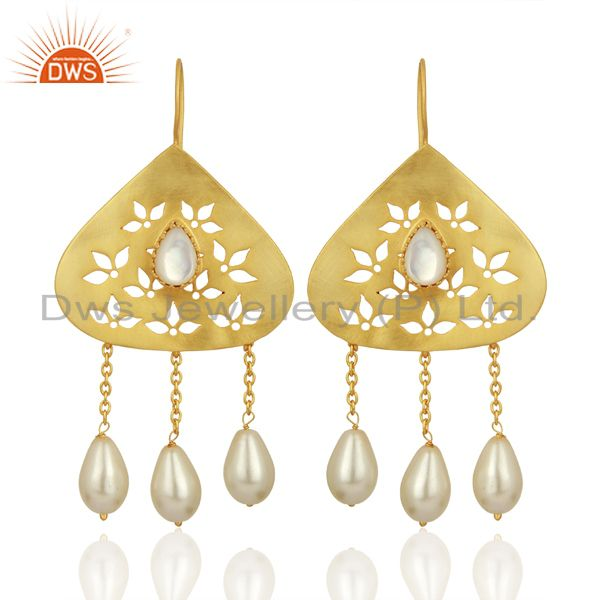 Natural Pearl Gemstone Silver Gold Plated Designer Earrings Supplier