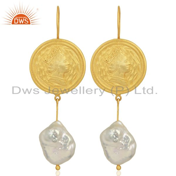 Gold Plated 925 Silver Designer Natural Pearl Gemstone Earring Jewelry