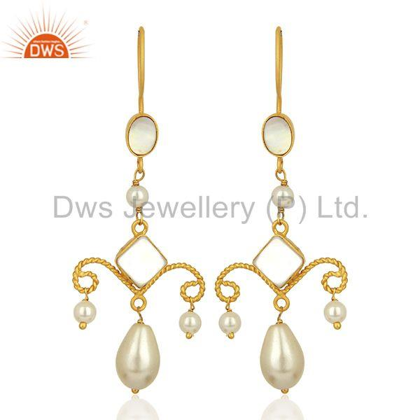 Indian Natural Pearl Gemstone Gold Plated 925 Silver Earring Wholesale