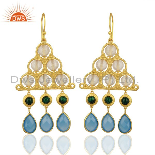 Designer Blue Chalcedony Gemstone 925 Silver Earrings Jewelry Supplier