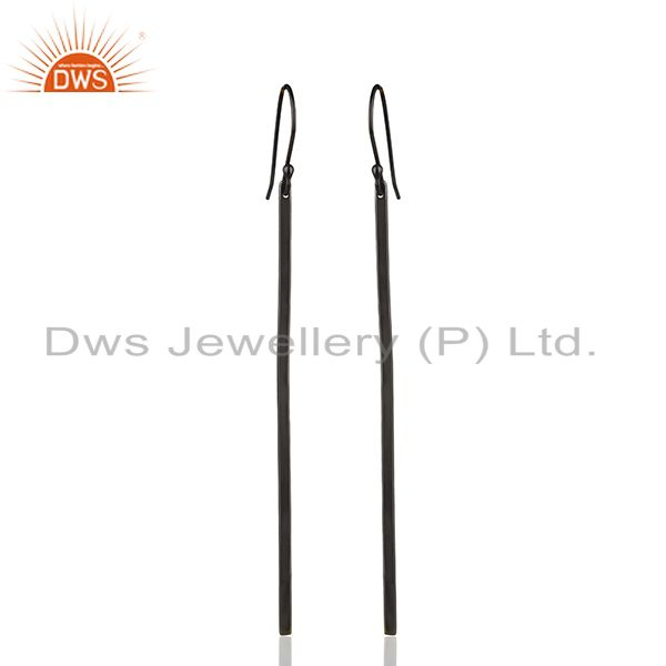 Black Rhodium Plated 925 Silver Womens Fashion Earrings Manufacturer