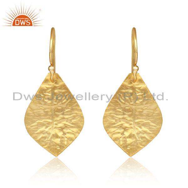 Handtextured Leaf Designer Yellow Gold on Fashion Earring