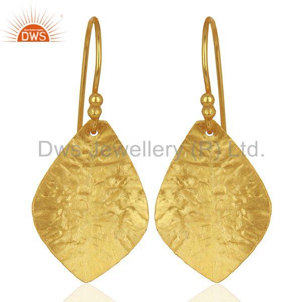 Textured Gold Plated Silver Designer Girls Earrings Jewelry Supplier