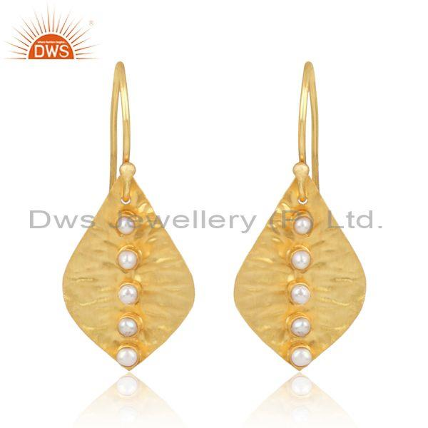 Pearls Set Gold Plated Hammered Silver Single Leaf Earrings