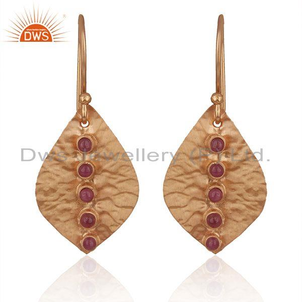 Ruby Gemstone Rose Gold Plated Sterling Silver Earrings Manufacturers