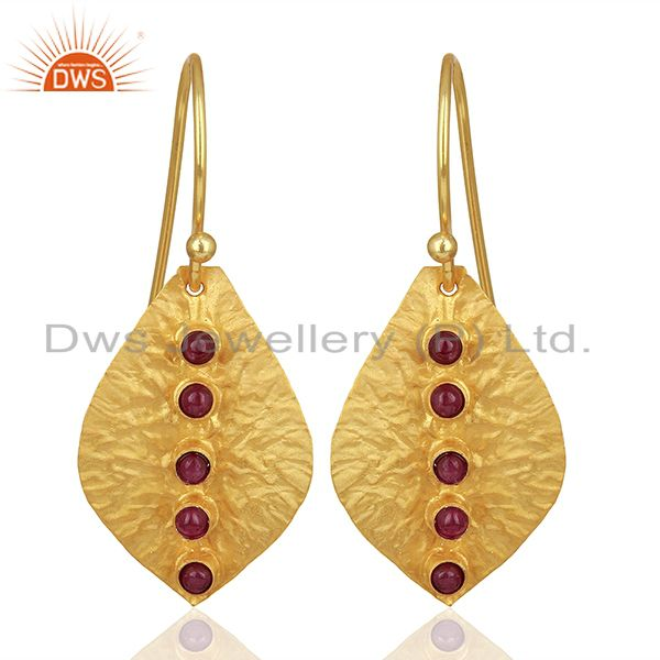 Leaf Design 925 Silver Gold Plated Natural Ruby Birthstone Earrings