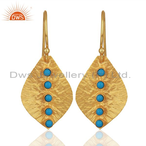 Turquoise Gemstone Gold Plated 925 Silver Drop Earrings Manufacturer