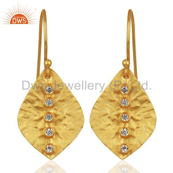 Leaf Design Gold Plated CZ Gemstone Girls Earrings Supplier Jewelry