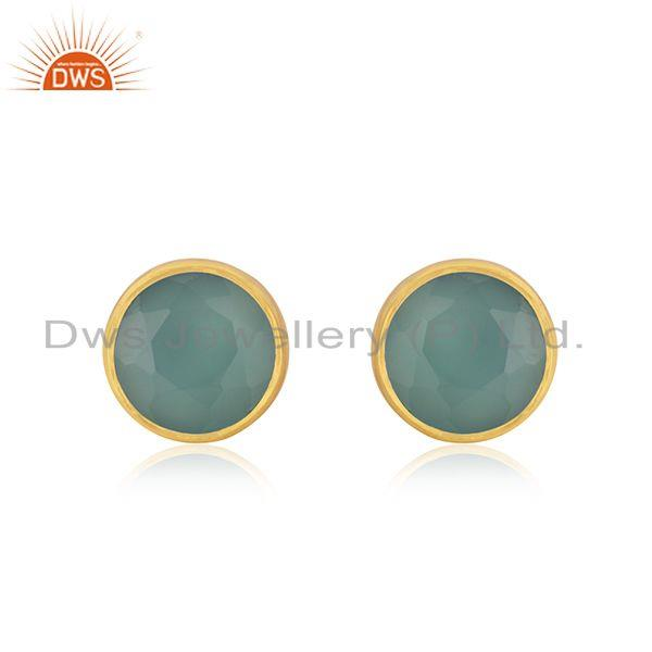 Aqua Chalcedony Gemstone Gold Plated 925 Silver Round Stud Earrings