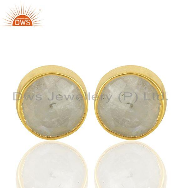 Rainbow Moonstone Gemstone Gold Plated Silver Stud Earring Manufacture