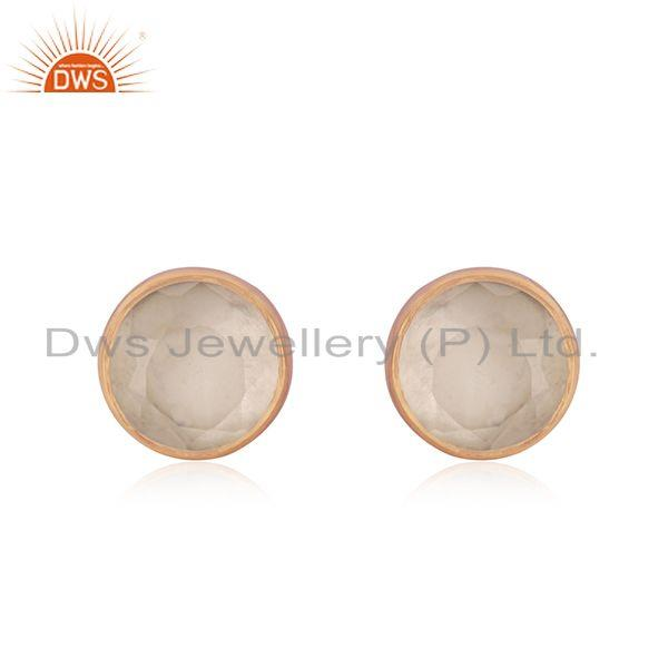 Rose Quartz Gemstone Rose Gold Plated 925 Silver Stud Earring Supplier