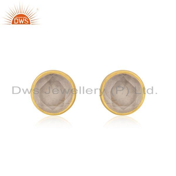 14k Gold Plated 925 Silver Round Rose Quartz Gemstone Stud Earrings