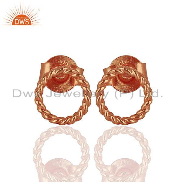 Rose Gold Plated 925 Silver Womens Stud Earrings Jewelry Manufacturer