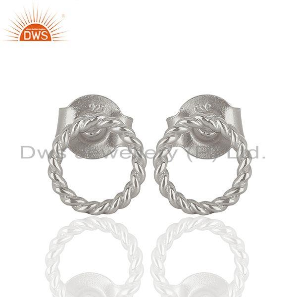 Handamde Sterling Fine Silver Fashion Stud Earrings Jewelry Wholesale