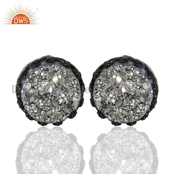 Black Sterling 925 Silver Black Druzy Gemstone Stud Earring Suppliers