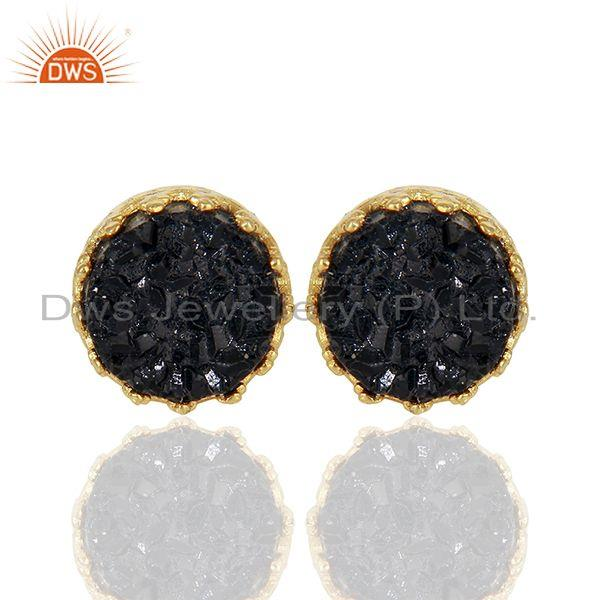 Black Druzy Gemstone Crown Design Gold Plated 925 Silver Stud Earrings