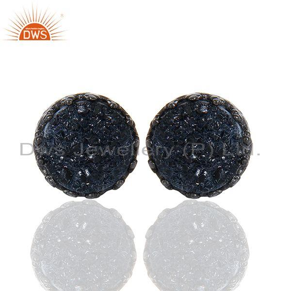 Silver Druzy Gemstone Black 925 Sterling Silver Round Stud Earrings