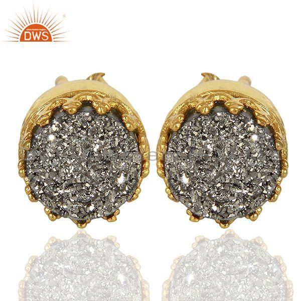 Silver Druzy Gemstone Gold Plated 925 Silver Round Stud Earrings